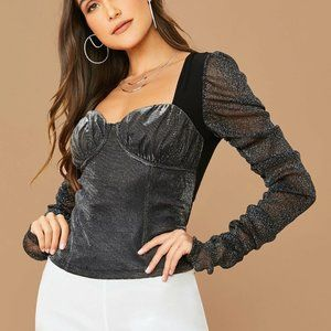 NEW JUST REDUCED Mixed Media Bustier Top SMALL